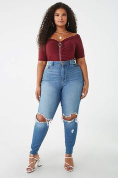 Forever 21 Plus Size Off-the-Shoulder Top Plus Size Blouses, Plus Size Tops, Plus Size Women, Forever 21 Plus, Curvy Plus Size, Off The Shoulder, Mom Jeans, Graphic Tees, Tee Shirts