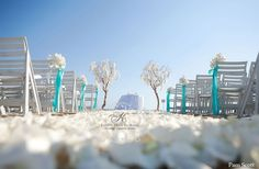 Manzanita trees with orchids beach wedding ceremony with tiffany blue accent