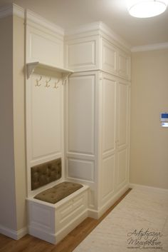 hall wardrobe with upholstered seat, classic wardrobe, wooden furniture, classic design, handmade fu Handmade Furniture, Home Decor Furniture, Home Decor Bedroom, Entryway Decor, Diy Home Decor, Wooden Furniture, Flur Design, Plafond Design, Built In Wardrobe