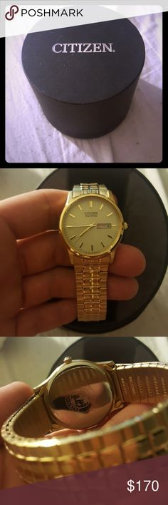 Citizen Eco-Drive Watch Elastic band gold Citizen watch. Never been worn other than when I tried it on so it is in excellent condition. The band is elastic so no links are able to be taken out and it is too big for me. Any other questions just ask me. Citizen Accessories Watches