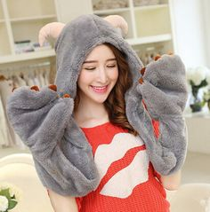 1fa3bd4b83c40 73 Best plush animal hat scarf and gloves all in one images