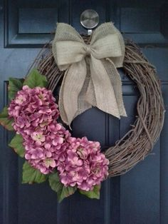 Front door wreath hydrangea wreath burlap by AutumnWrenDesigns, $45.00
