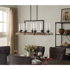 Vineyard Metal and Wood 6-Light Chandelier with Seeded Glass Shades | Overstock.com Shopping - The Best Deals on Chandeliers & Pendants