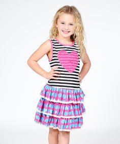 Loving this Pink Heart Ruffle Drop-Waist Dress - Infant, Toddler & Girls on #zulily! #zulilyfinds