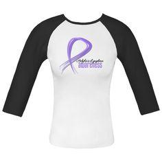 Hodgkins Lymphoma Grunge Ribbon White and Black Fitted Raglan T-Shirt. http://store.lymphomashirts.com/Shop/Awareness.15584/