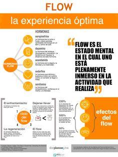 Infografía sobre el Flow (flujo en español). El Flow es un estado mental de plena concentración en lo que uno realiza propuesto por el psicólogo Mihály Csíkszentmihályi en 1975  Fuente: https://www.docplanner.mx