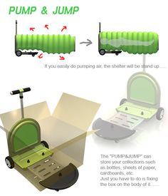The move- pulled&carried The shelter - Pumping the air The store space- fixing on the cart Portable Shelter, Portable Tent, Homeless Housing, Shelter Design, Trolley Bags, Camping Glamping, Bug Out Bag, Cool Inventions, Camping Survival