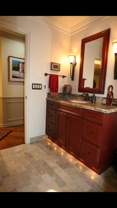 Bathroom Vanity in Red distressed | Cabinets | Pinterest | Bathroom ...