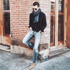Denim on denim vibez today...and NO heavy jacket needed!  #nyc #saturdaze #prestonreport #menswear