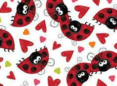 XOXO: Ladybugs and Hearts White - Quilting Treasures Hancocks Of Paducah, Bugs And Insects, Cotton Quilting Fabric, Love Bugs, Quilt Kits, Wool Applique, Fabulous Fabrics, Rug Hooking, Fabric Swatches