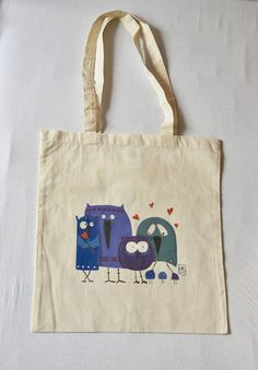 #Borsa #shopper #cotone con #illustrazione #gufi #owl #etsy #labliu     https://www.etsy.com/it/listing/534975777/borsa-shopper-cotone-con-illustrazione?ref=related-4