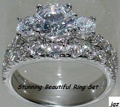 3.75 CT MAGNIFICENT ENGAGEMENT RING SET * Size 7 * NEW* PURE SOPHISTICATION & ELEGANCE