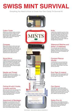 DIY Swiss Mint Survival Kit This is an easy to make and compact survival kit. It contains the basics you would need in an emergency situation short term and a great item to have on you at all times...