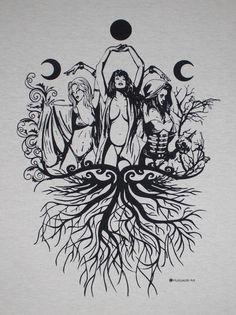Body Art Tattoos, Tattoo Drawings, Sleeve Tattoos, Tatoos, Wiccan Tattoos, Symbolic Tattoos, Deep Tattoo, Maiden Mother Crone, Pagan Symbols