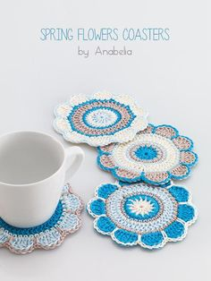 (4) Name: 'Crocheting : Spring Flowers crochet coasters