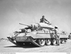 A Crusader tank of the Australian Division Cavalry Regiment. Most Allied armoured formations in North Africa were British, and they were the ones who usually bore the brunt of Rommel's panzer attacks. 10 July 1942 [via]
