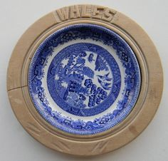Antique English Transfer Ware Carved Wood Wales Butter Dish Tray Board - George Jones Blue Willow Transferware Plate Insert