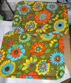 Vintage 1960's Retro Metal Serving Lap Trays Set of 2 Flower Power Theme