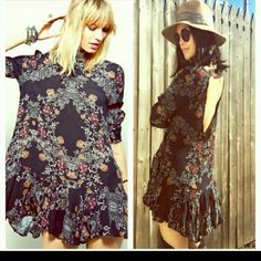 Free People Floral Tunic Dress in Size Large GORGEOUS! Free People Floral Tunic Dress in Size Large- Color Charcoal. Brand New, Tag included but detached. Retail $168.00 Free People Dresses Mini