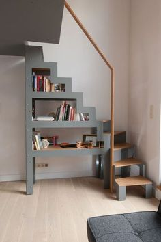 me Ladder For Loft Space Minimalist Wooden Staircase Design For Small Loft Staircase, Staircase Design, Stair Design, Stairs For Loft, Stairs To Attic, Modular Staircase, Mezzanine Loft, Small Staircase, Mezzanine Bedroom