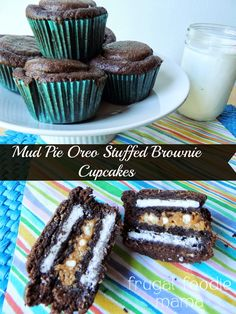Mud Pie Oreo Stuffed Brownie Cupcakes- mocha brownie cupcakes stuffed with Oreos, cookie butter, & pretzel pieces!