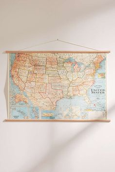 Hanging Vintage USA Map - Urban Outfitters