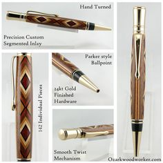 Segmented Inlay Wooden Ballpoint Pen Custom Handmade Executive Twist Turned 05