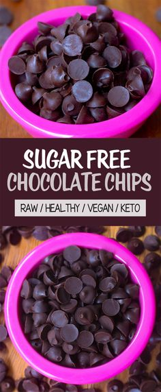 Sugar Free Chocolate Chips (Keto, Vegan, Raw, Healthy)