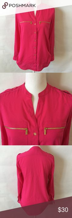 Calvin Klein Zip Roll Sleeve Blouse Size XS Excellent Condition . No flaws . Size Extra Small Calvin Klein Tops Blouses