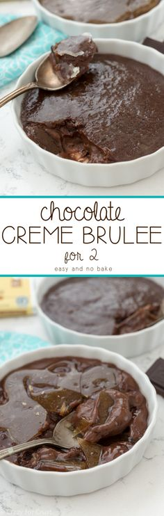 Easy Chocolate Creme Brulee for 2! This simple recipe is totally foolproof - it's no bake! No oven, no eggs - just chocolatey creme brulee!