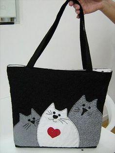 cat bag ~ Get Ozzi Cat - cute appliqué Sacs Tote Bags, Tote Purse, Reusable Tote Bags, Women's Bags, Crossbody Bag, Patchwork Bags, Quilted Bag, Diy Sac, Cat Bag