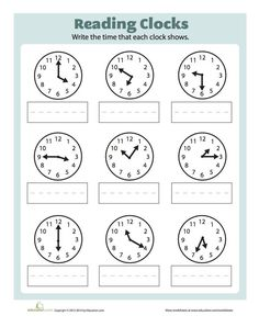 It& time to set these clocks to the correct time. This worksheet will help your child with her time telling skills. To complete this exercise she will need to read the clock and correctly write down the time displayed. Clock Worksheets, 2nd Grade Math Worksheets, School Worksheets, Worksheets For Kids, Matching Worksheets, Teaching Time, Teaching Math, Maths, Kindergarten Math
