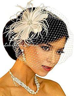 Leslie Li Women's Vintage Feather & Bridal Birdcage Veil One Size Ivory 23-F67