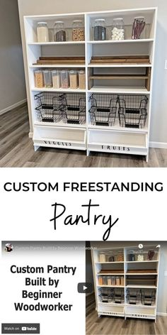 Food ... it is a revolving storage and organization challenge that we all deal with. A pantry is a must in new homes. But what happens if you don't have an adequate pantry? Build your own custom pantry shelf and customize it for your needs. #anawhite #anawhiteplans #diy #pantry #organization Custom Pantry, Diy Furniture Plans, Ana White, Home Hacks, Woodworking Projects, Shelf, New Homes, Diy Products, House Design
