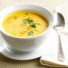 Curried Butternut Squash Soup -- going to try this one and see if it's as good as the Garam Masala Butternut Squash soup we love.