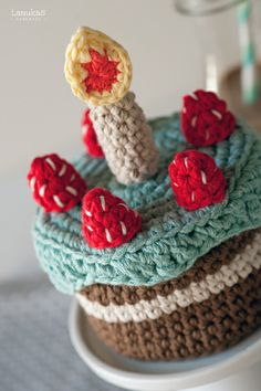 Evil Plan: I need to crochet the cake from Portal to give to Jay... THE CAKE IS A LIE!