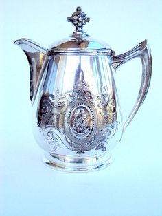 Vintage Silverplate Teapot, English, Single Serving, Portrait, Ornate, Victorian, cr. 1890s  I take CREDIT CARDS