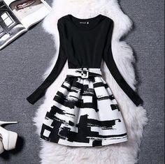 Party Dresses Women Dress Vestidos De Fiesta 2017 Spring Autumn Winter Long sleeve print A-Line Casual dress Elegant ladies