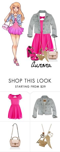 """Disney High: Aurora"" by disneykid95 ❤ liked on Polyvore featuring Disney, Hollister Co., Forever New, Blu Bijoux, Nicole By Nicole Miller, jean jackets, dresses, chunky heels, aurora and necklaces"