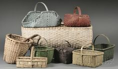 Collection of Nine Woven Splint Baskets | Sale Number 2558M, Lot Number 665 | Skinner Auctioneers