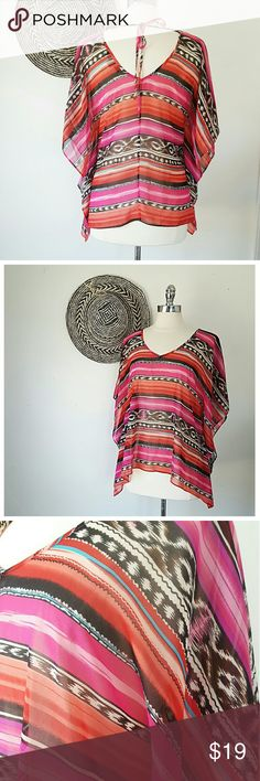 FV21 Baja Semi Sheer Poncho Swim Coverup SZ SMALL -BRAND- Forever21 -CONDITION- Perfect -COLOR- REd, black, white, pink, tuquoise -COMPOSITION- Polyester -SIZE- Small- very roomy -MEASUREMENTS- 26in L, 13in sleeve, 42in chest -DETAILS- Vneck , tie back, baja print Forever 21 Swim