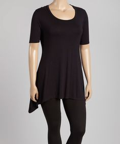 Another great find on #zulily! Black Sidetail Tunic - Plus #zulilyfinds