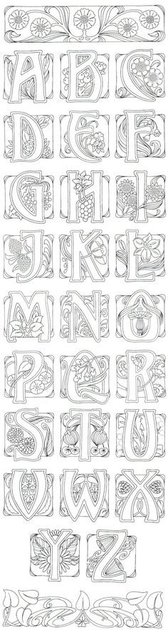 Art Nouveau- art journal idea: illustrate an alphabet.