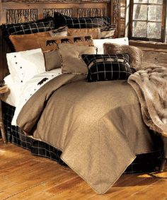 """Ashbury Log Cabin Bedding Ashbury Log Cabin Bedding Twin Set Includes: Bed set includes 68""""W x 88""""L comforter, 39""""W x 76""""L x 16""""H bedskirt, one 21""""W x 27""""L standard sham and 16""""W x 21""""L windowpane button accent pillow.  Ashbury Log Cabin Bedding Full Size Set Includes: Bed set includes 80""""W x 90""""L comforter, 54""""W x 76""""L x 16""""H bedskirt,"""