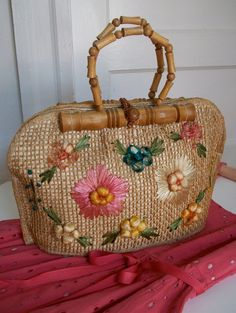 Vintage Straw Purse with Flowers
