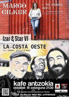 Cartel de Margo Cilker & The Drunken Angels y La Costa Oeste, Izar & Star 2016, Kafe Antzokia, Bilbao, 18/II/2016.  http://denaflows.com/galerias-de-fotos-de-conciertos/c/la-costa-oeste/ http://denaflows.com/galerias-de-fotos-de-conciertos/c/la-costa-oeste/