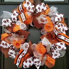 CLEVELAND BROWNS NFL FOOTBALL WREATH DECO MESH RIBBON #Handmade