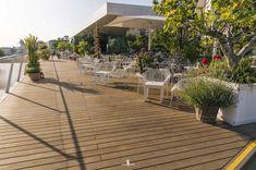 Café Restaurant Motto am Fluss Bratislava, Cafe Restaurant, House Viewing, Roof Design, Wood Turning, Cladding, Natural Wood, Earth, Patio