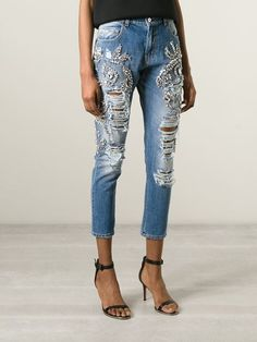Marco Bologna Crystal Embellished Distressed Jeans - Elite - Farfetch.com