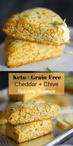 These low-carb, grain-free cheddar + chive scones are heaven on a plate! Pumpkin Jam, Pumpkin Recipes, Fall Recipes, Cheddar, Blueberry Scones Recipe, Savory Scones, Cakes Plus, Keto Bread, Low Carb Food